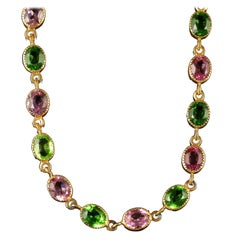 Antique Victorian Suffragette Tourmaline Gold Necklace, circa 1900