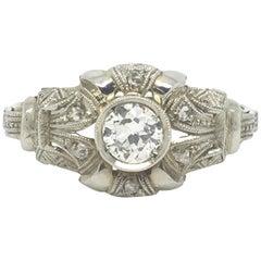 Vintage Old Cut Diamond Ring in 18 Carat White Gold