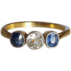 Art Deco White Blue Sapphire Trilogy Engagement Gold Ring