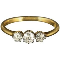 Antique Edwardian Diamond Trilogy Ring 18 Carat Gold circa 1910 Engagement Ring