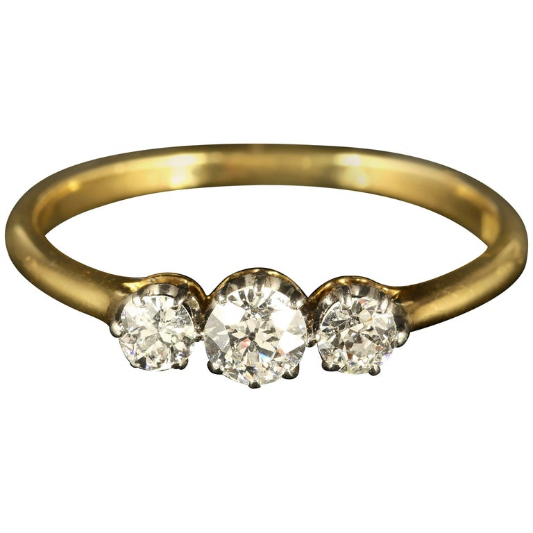 Antique Edwardian Diamond Trilogy Ring 18 Carat Gold Circa