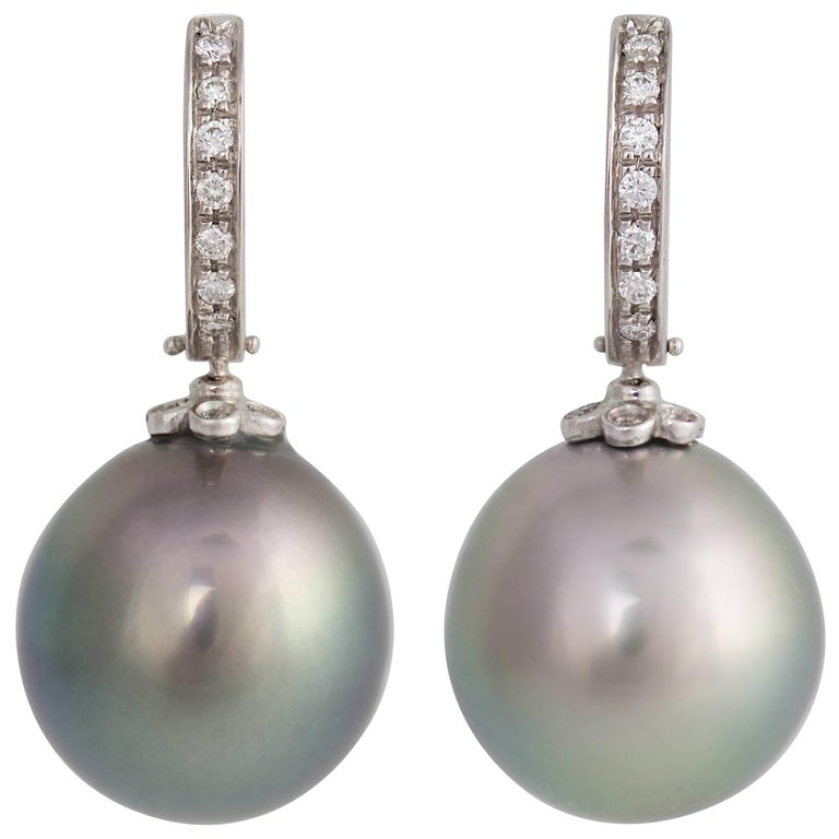 Ella Gafter Black Tahitian Pearl and Diamond White Gold Hoop Drop Earrings
