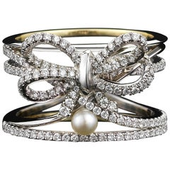 Alexandra Mor Contemporary Pearl Diamond Platinum Bow Ring