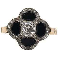 Art Deco Onyx and Diamond Ring