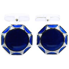 Smart Hand Enameled Blue White Octagonal Sterling Silver Cufflinks T-Bar Back