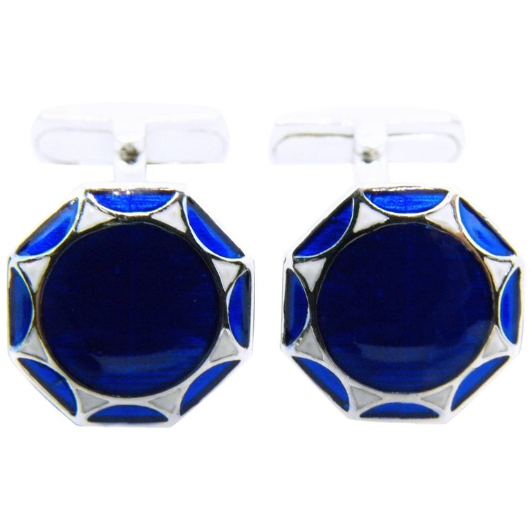 Smart Hand Enameled Blue White Octagonal Sterling Silver Cufflinks T-Bar Back For Sale