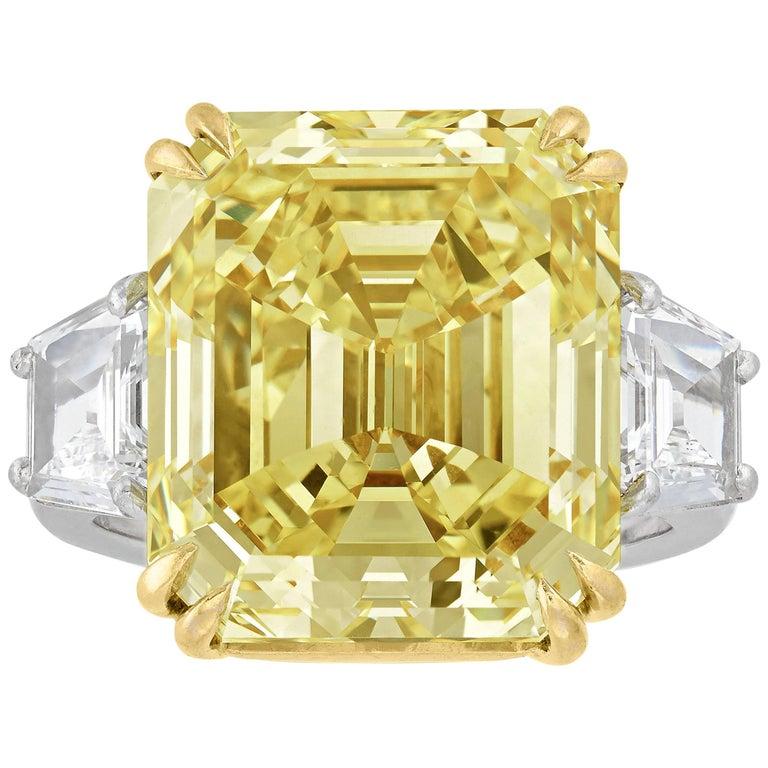 Internally Flawless Fancy Yellow Diamond Ring 16 57 Carat