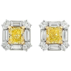 Fancy Intense Yellow Diamond Earrings, 4.18 Carat
