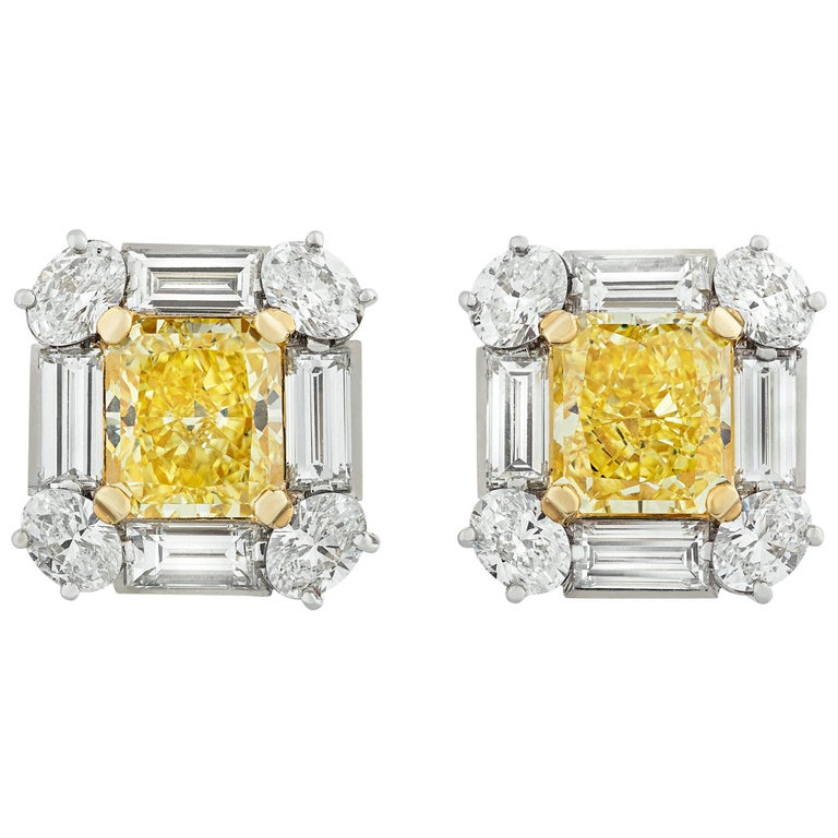 Fancy Intense Yellow Diamond Earrings, 4.18 Carat