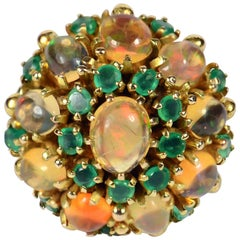 circa 1960 Fire Opal Agate Gold Bombe Cluster Cocktail Ring