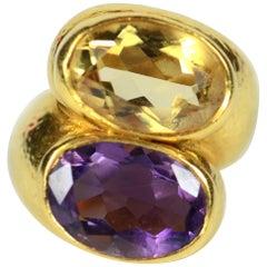 Zolotas Amethyst Citrine Gold Crossover Ring, circa 1980