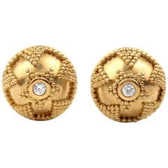 Julius Cohen 22 Karat Gold and Diamond Earrings