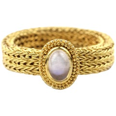 Julius Cohen Handwoven 22 Karat Gold and Moonstone Ring