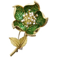 Hammerman Brothers 18 Karat Yellow Gold and Diamond Opening Flower Brooch