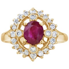 1.67 Carat Ruby Diamond Cocktail Ring