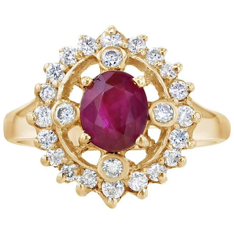 1.67 Carat Ruby Diamond Cocktail Ring