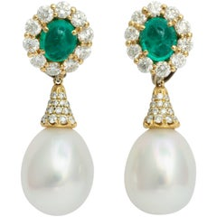 Donna Vock Emerald Diamond and Cultured Pearl Drop Day Night Clip-on Earrings
