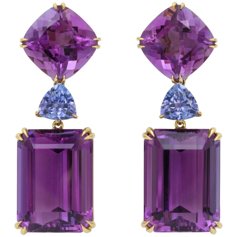 Donna Vock Amethyst and Tanzanite Clip-on Earrings
