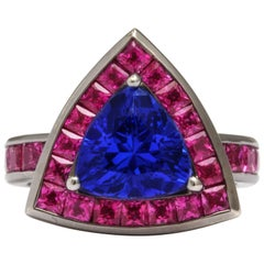 Donna Vock Tanzanite and Pink Sapphire White Gold Cocktail Ring