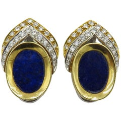 Yellow Gold, White Gold, Lapis Lazuli and Diamond Earrings