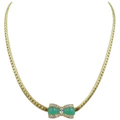 Van Cleef & Arpels Yellow Gold, Chrysoprase and Diamond Necklace