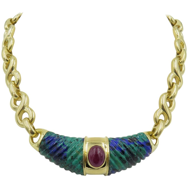 David Webb Yellow Gold, Azurmalachite and Ruby Necklace For Sale