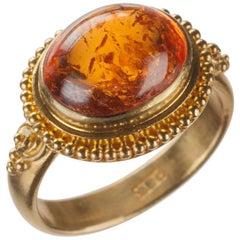 Orange Spessartite Garnet Ring in 22 Karat Yellow Gold