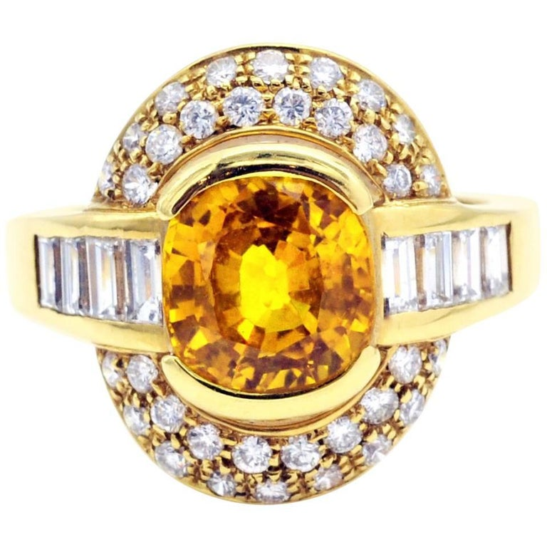 Yellow Sapphire and Diamond Gold Ring