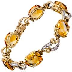 Beautiful Vintage Citrine and Diamond Flexible Bracelet