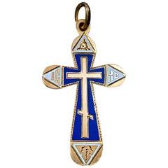 Antique Russian Two-Color Enamel Gold Cross Pendant