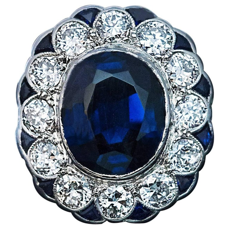 Midcentury Sapphire Diamond Cluster Engagement Ring For Sale
