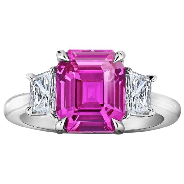 4 37 Carat Emerald Cut Pink Sapphire And Diamond Ring