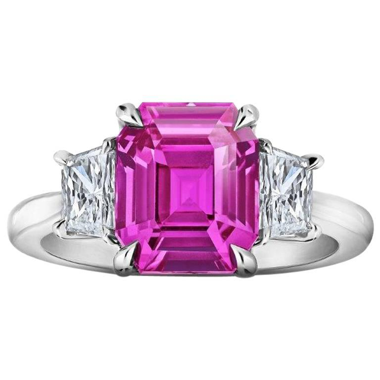 4 37 carat emerald cut pink sapphire and ring for