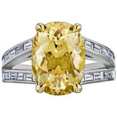 8.55 Carat Cushion No Heat Natural Yellow Sapphire Ring AGL Certified