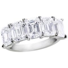 All GIA Certified Emerald Cut Diamond Five-Stone Wedding Band