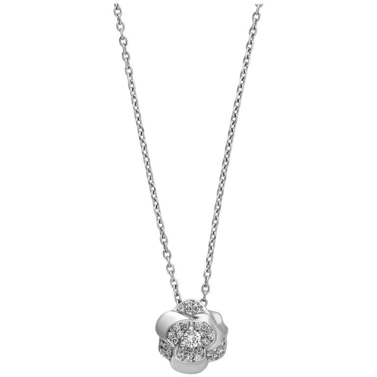 Chanel 18 Karat White Gold Diamond Flower Necklace