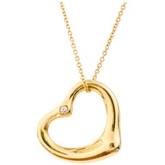 Tiffany & Co. Elsa Peretti Open Heart Diamond and 18K Gold Necklace