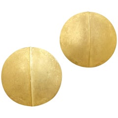 Herbert Fischer Unique Modern Matte Gold Clip Post Earrings