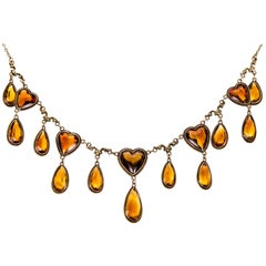 Pretty Antique Yellow Gold and Citrine Heart Necklace