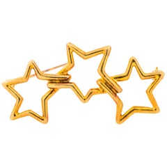 Tiffany & Co. 18K Gold Three Star Brooch Pin
