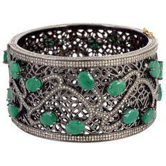 Broad Emerald and Diamond Cuff