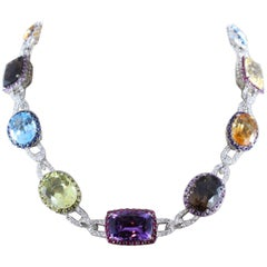 Multi-Color Gemstone Diamond Gold Necklace