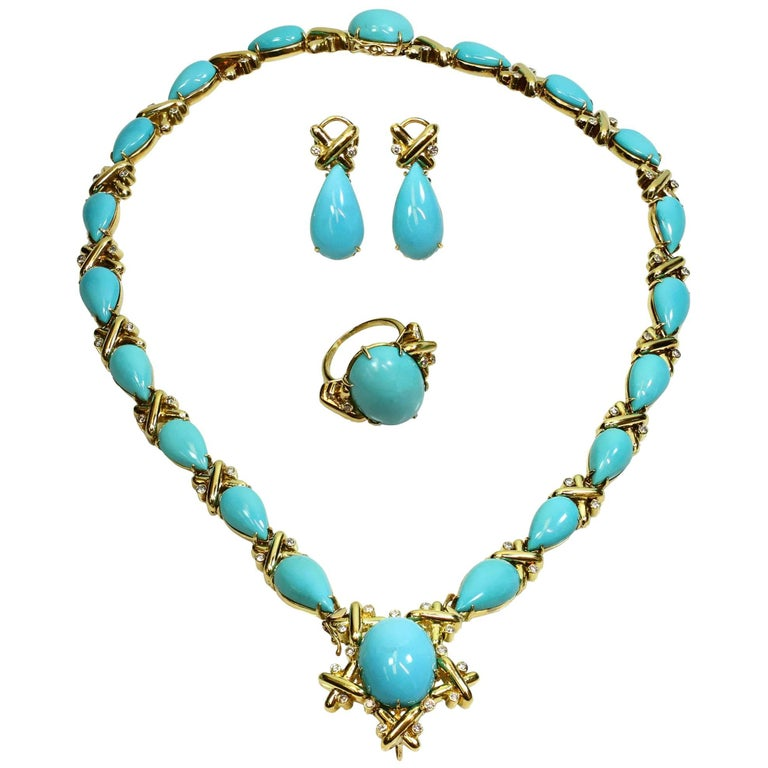 Turquoise Diamond Yellow Gold Detachable Brooch Necklace Ring and Earrings Set