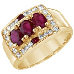 1.64 Carat Burmese Ruby Diamond Unisex Ring