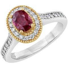 1.20 Carat Burmese Ruby Diamond Halo Engagement Ring