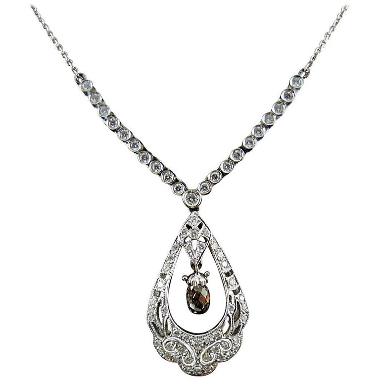 French White Gold Necklace with White and Cognac Diamonds