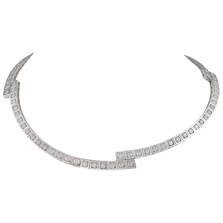 Cartier White Gold 'Tectonique' Diamond Necklace For Sale