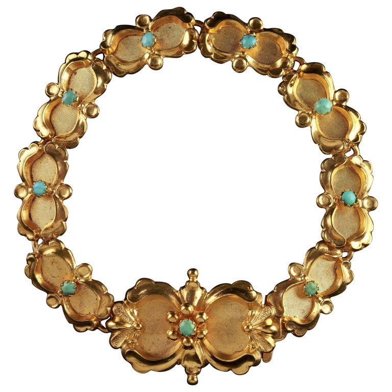 Victorian Turquoise Bracelet Gold Silver, circa 1880
