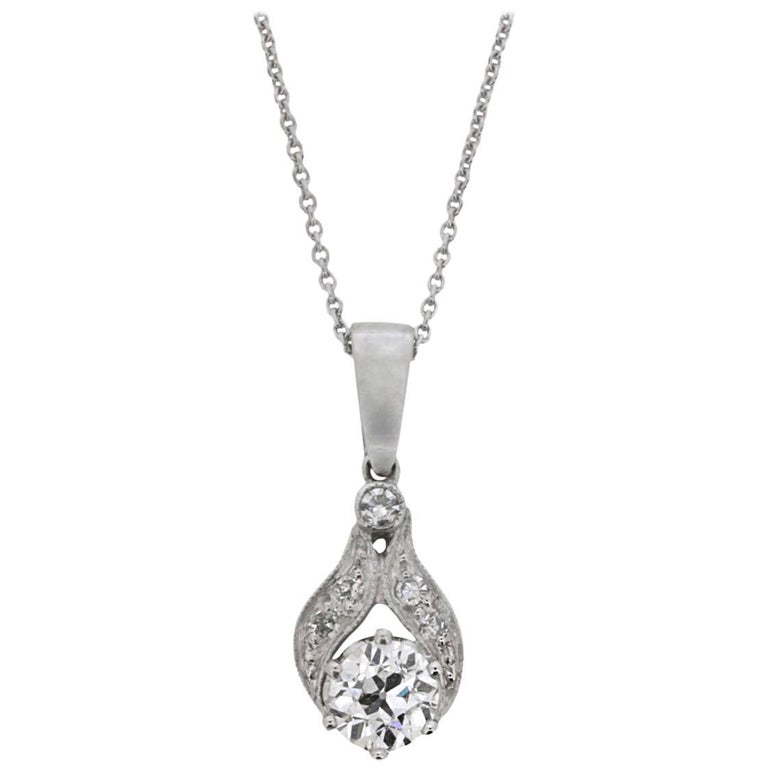 Vintage Diamond Drop Pendant and Chain, 1940s For Sale