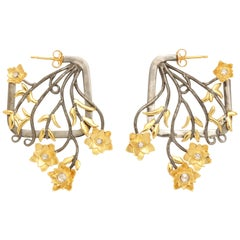 Gold Silver Tulip Boquet Earrings